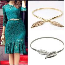Cinturon Cinto Hoja De Maple Fashion Plata Dorado Elastico.