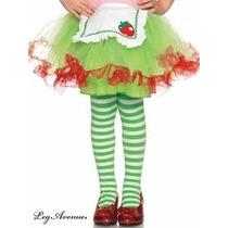 Meia-calça Listrada Verde E Branca Infantil Leg Avenue 4-6