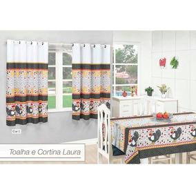 Kit Cozinha Cortina Mais Toalha De Mesa Para Seis Cadeira