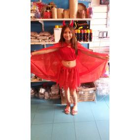 Disfraz Diablita Niñas 6 A 8 Años Diabla Cuernitos Halloween