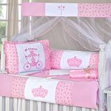 Kit Berço 9 Pçs Rosa Menina Branco Imperial Coroa Flor Isis
