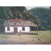 Quadro Pintura Óleo Sobre Tela Casario Paisagem Rural - Arte