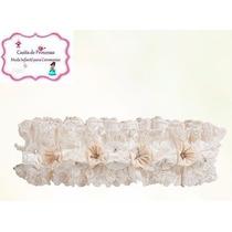 Diadema De Flores Y Pedrería Para Bautizo Color Blanco