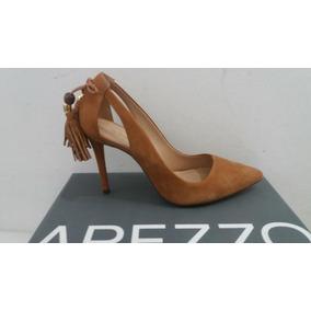 Sapato Scarpin Feminino Arezzo Barbicachos Nobuck Caramelo