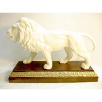 Escultura Italiana Leão Em Mármore Decoração Belíssima Rara