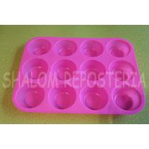 *molde Silicon Charola 12 Cupcakes Estandar Mantecadas Kekis