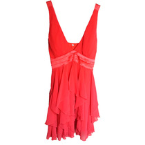Vestido Para Fiestas Color Coral De Gasa