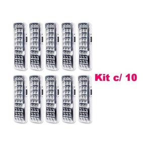Kit C/ 10 Luminária De Emergência 30 Leds Lâmpada Exbom