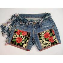 Short Jeans 36 Byzance Customizado Caveira Rosas