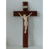 Cristo Alemán Siglo 19 En Cruz De Madera