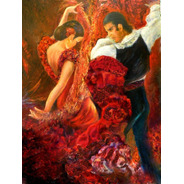 Foto Grande Flamenco Dancer Papel Tela  65x90cm Parede Obra