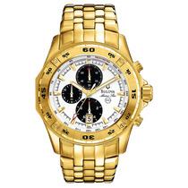 Relógio Luxo Bulova Marinestar 97b118 Orig Chron Anal Gold!!