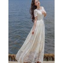 Vestido Largo De Novia, Gasa Con Bordados De Encaje, Manga
