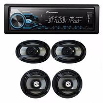 Combo Stereo Pioneer Mvh 380 Bt Usb + 4 Parlantes Mod 2016
