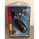 Mini Mouse Óptico Retrátil Leadership Preto 7194 Com Fio