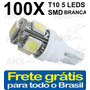 Kit 100 Lâmpadas Pingo T10 5 Smd 5050 W5w Automotivo