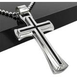 Cordão Aço Pingente Inox Cirúrgico Crucifixo Prateado Preto