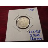Moneda Del Mundo Plata Suiza 1951 Helvetia 1/2 Franco