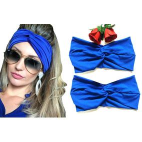 Turbante Azul Faixa Tiara Para Cabelo Adulto