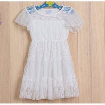 Vestido De Nena De Tul Con Encaje Natural- Talle 6 Años