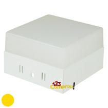 Painel Plafon Externo 6w Led Quadrado Branco Quente Sobrepor