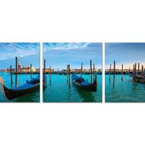 Sunset On Venetian Gondolas Triptych Wall Art Print, 72 X2