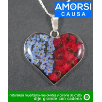 Dije Grande De Corazón Naturaleza Muerta Flor Corona De Cris