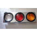 Stop Triple Punta Diamante 3 Colores 12 Voltios Base Cromada