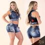 Coletinho Cropped Rhero Jeans Estilo Pitbull
