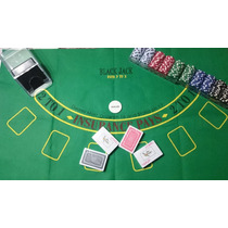 Kit Blackjack - Poker (tapete,fichas, Zapato Y Naipes)