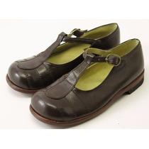 Divinos Zapatos Nena-legítimo Cuero Marrón-un Solo Uso-24-26
