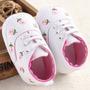 Zapatillas Zapatos Blancas Floridas Rosa Nena No Caminantes