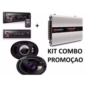 Kit Combo Auto Falante 6x9 400w +taramps Ts800x4 + Radio