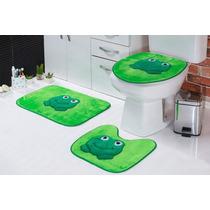 Jogo Tapete De Banheiro Sapo 03 Peças