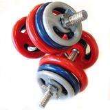 Kit Musculação 2 Barras + 28kg Em Anilhas Revestidas
