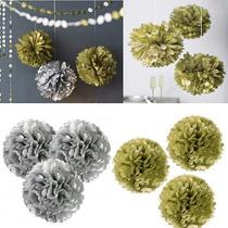 Balão Pompom Papel Seda Dourado E Prateado 15 Cm