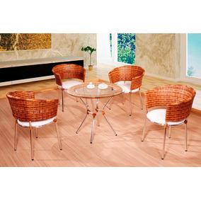 Conjunto 5 Cadeiras 1 Base 90cm De Alumínio, Fibra Sintética