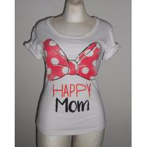 Disney Playera Blanca Con Moño De Minnie Happy Mom Talla S