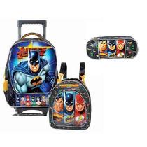 Kit Mochila Batman Liga Da Justiça Herois + Lancheira