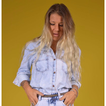 Camisa Manga Longa Blusa Feminina Jeans Lady Rock Promoção