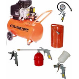 Compresor De Aire Sin Aceite 50l 2.5hp + Kit 5pzs Lc2550a
