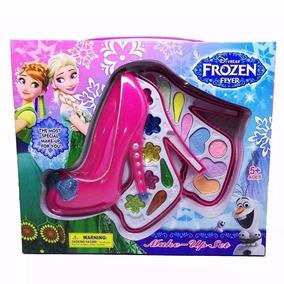 Kit Maquiagem Frozen Infantil Rosa Pink Formato De Sapatos