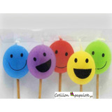 5 Velas Smile Carita Emoticon Teens Disco Deco Cumple