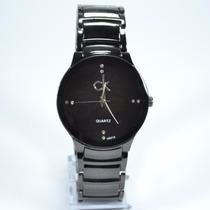 Relógio Masculino Ck Retrô Vintage Prata Dourado Preto +cai