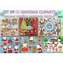 1 Kit Imprimible X 6 Navidad Cliparts Diseños Papa Noel Reno