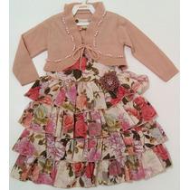 Vestido Pupila Estampa Floral Com Bolero De Trico