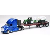 1:32 Trailer Kenworth T700 Plataforma Con Tractor Agricola