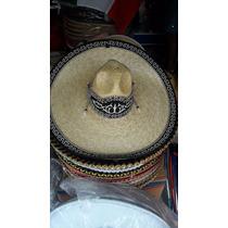 Sombrero Charro Paja Trigo Fino Galon Negro Adulto Bordado