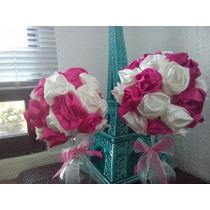 Ramo Floral Centro D Mesa Topiario Flor D Tela Rosa Evento