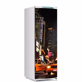 Adesivo De Geladeira Times Square Porta Inteira
